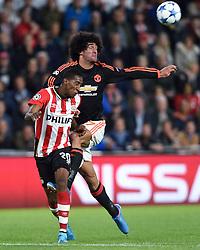 15-09-2015 NED: UEFA CL PSV - Manchester United, Eindhoven<br /> PSV kende een droomstart in de Champions League. De Eindhovenaren waren in eigen huis te sterk voor de miljoenenploeg Manchester United: 2-1 / Joshua Brenet #20, Marouane Fellaini #27