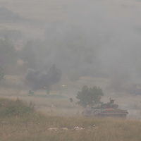 Hungarian tank participates in a joint Hungarian-US military exercise near Osku village (about 92 km South-West of capital city Budapest), Hungary on October 02, 2014. ATTILA VOLGYI