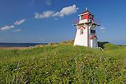 Lighthouse on sand dunes at Cape Stanhope. Covehead Harbour<br /> Prince Edward Island National Park<br /> Prince Edward Island<br /> Canada