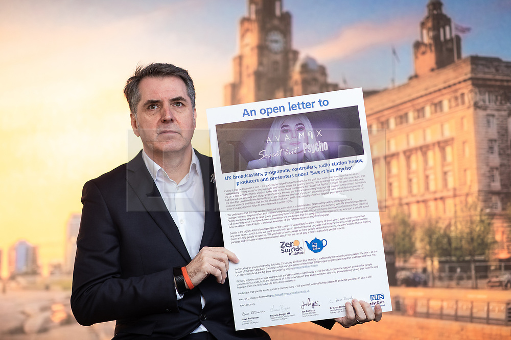 © Licensed to London News Pictures. 18/01/2019. Liverpool , UK. Liverpool Metro Mayor and a co-signatory of the letter , STEVE ROTHERHAM . Ava Max's number one single , Sweet but Psycho , has been criticised by the Zero Suicide Alliance (ZSA), a suicide prevention campaign group . In an open letter to the pop star and UK broadcasters , co-signed by Liverpool Mayor Steve Rotherham and Luciana Berger MP , the ZSA say the song's lyrics and the video's imagery reinforce negative perceptions about people with mental health issues and undermines their effort to combat stigma , which can prevent suicidal people from seeking help , with potentially life-threatening consequences . Photo credit: Joel Goodman/LNP