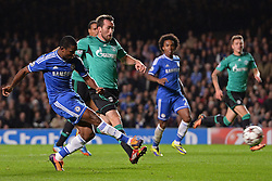 06.11.2013, Stamford Bridge, London, ENG, UEFA CL, FC Chelsea vs FC Schalke 04, Gruppe E, im Bild Chelsea's Samuel Eto'o scores, goal // Chelsea's Samuel Eto'o scores, goal UEFA Champions League group E match between FC Chelsea and FC Schalke 04 at the Stamford Bridge in London, Great Britain on 2013/11/06. EXPA Pictures © 2013, PhotoCredit: EXPA/ Mitchell Gunn<br /> <br /> *****ATTENTION - OUT of GBR*****