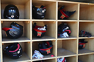 WINSTON-SALEM, NC - JUNE 02: Maryland batting helmets. The West Virginia University Mountaineers played the University of Maryland Terrapins on June 2, 2017, at David F. Couch Ballpark in Winston-Salem, NC in NCAA Division I College Baseball Tournament Winston-Salem Regional Game 1. West Virginia won the game 9-1.