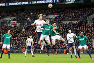 Tottenham Hotspur forward Harry Kane (10) goes up for a header during the Premier League match between Tottenham Hotspur and West Bromwich Albion at Wembley Stadium, London, England on 25 November 2017. Photo by Andy Walter.