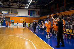 Players of KK Helios Suns celebrate during basketball match between KK Helios Suns and KK Petrol Olimpija in Playoffs of Liga Nova KBM 2017/18, on March 26, 2018 in Hala Kominalnega Centra, Domzale, Slovenia. Photo by Urban Urbanc / Sportida