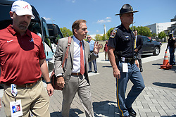 Alabama Crimson Tide head coach Nick Saban prior to the Chick-fil-A Kickoff Game at the Mercedes-Benz Stadium, Saturday, August 31, 2019, in Atlanta. (Vasha Hunt via Abell Images for Chick-fil-A Kickoff)
