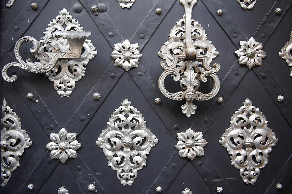 Wooden door with metal decoration- old town - Prague - Czech Republic