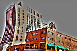 19 April 2014:   Buildings and structures in Bloomington Il appear to have a cartoony effect from the use of perspective manipulation with a tilt + shift lens and the lens correction adjustment in Photoshop.<br /> <br /> This image was produced in part utilizing High Dynamic Range (HDR) processes.  It should not be used editorially without being listed as an illustration or with a disclaimer.  It may or may not be an accurate representation of the scene as originally photographed and the finished image is the creation of the photographer.