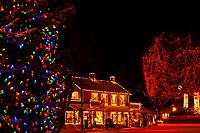 Holiday lights along historic downtown Littleton, Littleton, Colorado USA
