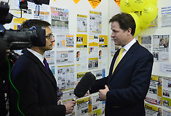 © Licensed to London News Pictures. 27/02/2013. Eastleigh, UK. Nick Clegg answers questions to a television reporter. Leader of the Liberal Democrats and Deputy Prime minister Nick Clegg and Liberal Democrat Parliamentary Candidate for Eastleigh, Mike Thornton at the Liberal Democrat campaign headquarters in Eastleigh today 27th February 2013. Polling takes place across the borough tomorrow.  Photo credit : Stephen Simpson/LNP