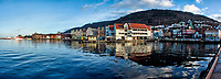 Historic Bergen from across the harbor. Composite of four images taken with a Nikon 1 V2 camera and 10 mm lens (ISO 200, 10 mm, f/8, 1/250 sec). Raw images processed with Capture One Pro and the composite created using AutoPano Giga Pro.