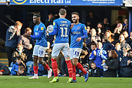 Portsmouth Midfielder, Ben Close (33) celebrates with Portsmouth Midfielder, Ronan Curtis (11) after scoring a goal to make it 1-1 during the EFL Sky Bet League 1 match between Portsmouth and Accrington Stanley at Fratton Park, Portsmouth, England on 4 May 2019.