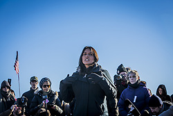 December 4, 2016 - Cannonball, North Dakota, United States - ''Unless we protect our water there is no economy.'' Congresswoman Tulsi Gabbard. The Showdown at Standing Rock is a win for Native Tribes. The U.S. Army Corps of Engineers turned down a key permit for a the Dakota Access Pipeline that was slated to drill beneath the Missouri River and through sacred Sioux grounds. Many consider this a historic victory for Native Americans and climate activists who have protested the project for months. (Credit Image: © Michael Nigro/Pacific Press via ZUMA Wire)