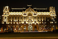 Gresham Palace ; Four Seasons ; Budapest; Hungary; night .<br /> <br /> Visit our HUNGARY HISTORIC PLACES PHOTO COLLECTIONS for more photos to download or buy as wall art prints https://funkystock.photoshelter.com/gallery-collection/Pictures-Images-of-Hungary-Photos-of-Hungarian-Historic-Landmark-Sites/C0000Te8AnPgxjRg