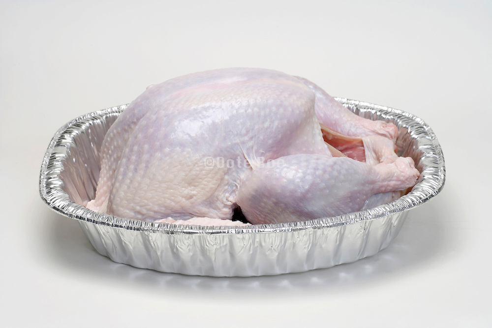 a raw Turkey waiting in a aluminum oven tray