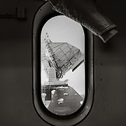 South Pole Telescope from a window in the Dark Sector Lab.