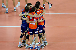 ACH players celebrate during volleyball match between ACH Volley (SLO) and Jastrzebski Wegiel (POL) in 6th Round of 2011 CEV Champions League, on January 12, 2011 in Arena Stozice, Ljubljana, Slovenia. (Photo By Vid Ponikvar / Sportida.com)