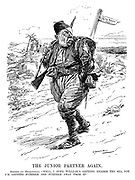 """The Junior Partner Again. Mehmed (in Mesopotamia). """"Well, I hope William's getting nearer the sea, for I'm getting further and further away from it."""" (Mehmed V of Turkey while in Iraq walks away from the Persian Gulf with a bandaged eye during WW1)"""