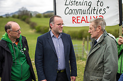Pictured: Ian Baxter, Andy Wightman and Jim Telfer, farm owner.<br /> <br /> The Scottish Green Party's Andy Wightman, MSP, joined local election candidate Ian Baxter at the proposed site of a new film studio in Edinburgh ahead of the local council elections.<br /> Ger Harley | EEm 17 April 2017
