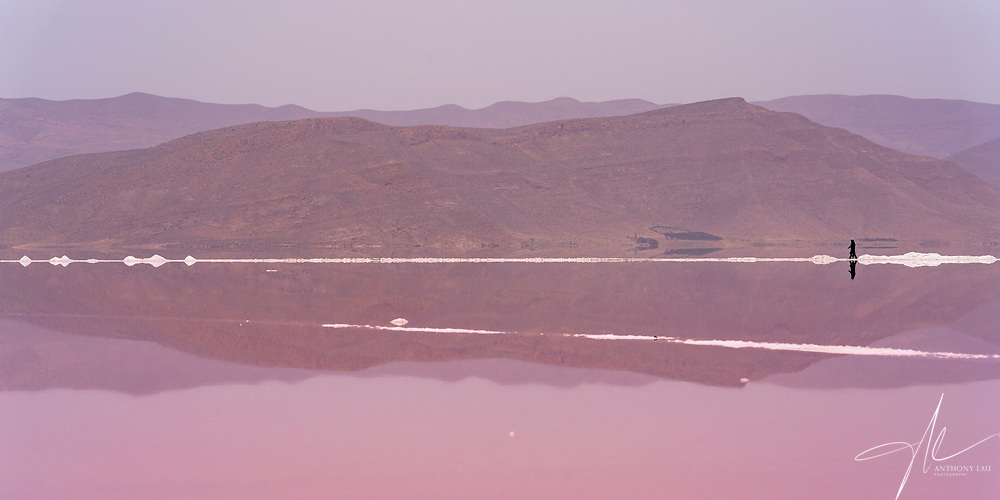 The color of Marharloo salt lake changes due to salt and water level, it's famous for its pink color, nut it can also be blue, white or even red