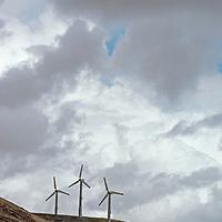 Modern windmills generate electricity near Livermore, California.