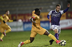 January 10, 2018 - Tubize, BELGIUM - Tubize's Simon Zenke and Beerschot's Jimmy De Jonghe fight for the ball during a soccer game between AFC Tubize and Beerschot-Wilrijk, in Tubize, Wednesday 10 January 2018, on day 19 of the division 1B Proximus League competition of the Belgian soccer championship. The game was postponed because of bad weather conditions on December 10th. BELGA PHOTO JOHN THYS (Credit Image: © John Thys/Belga via ZUMA Press)