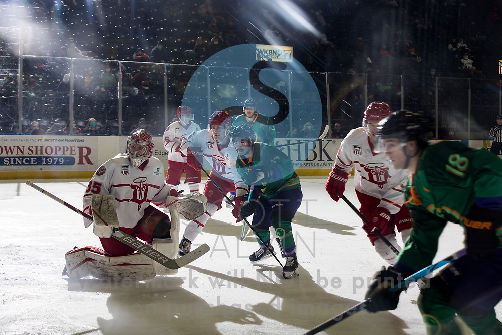Youngstown Phantoms lose 5-4 to the Dubuque Fighting Saints at the Covelli Centre on March 13, 2021.<br /> <br /> Yusaku Ando, forward, 12 <br /> Hobie Hedquist, goalie, 35