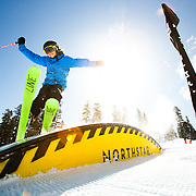 Olivia Valles, Dante Schipani, Noah Rodarte, and Kyland skiing and snowboarding in the Moonshine Terrain Park at Northstar Mountain Resort near Truckee, CA.