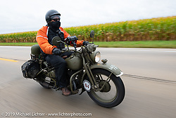 Randy Samz riding his 1942 Harley-Davidson WLA during the Cross Country Chase motorcycle endurance run from Sault Sainte Marie, MI to Key West, FL (for vintage bikes from 1930-1948). Stage 3 from Milwaukee, WI to Urbana, IL. USA. Sunday, September 8, 2019. Photography ©2019 Michael Lichter.