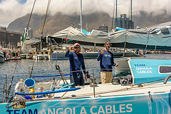 10 Nov 2016. Cape2Rio, the only Double-Handed boat and sole Angolan entry, Mussulo 40, sponsored by Angola Cables, sails into Cape Town from Brazil.<br /> <br /> Alec Smith / RealTime Images