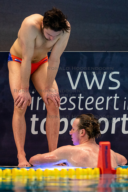 Pascal Janssen, Robin Lindhout of the Netherlands disappointed against Montenegro during the Olympic qualifying tournament. The Dutch water polo players are on the hunt for a starting ticket for the Olympic Games on February 19, 2021 in Rotterdam