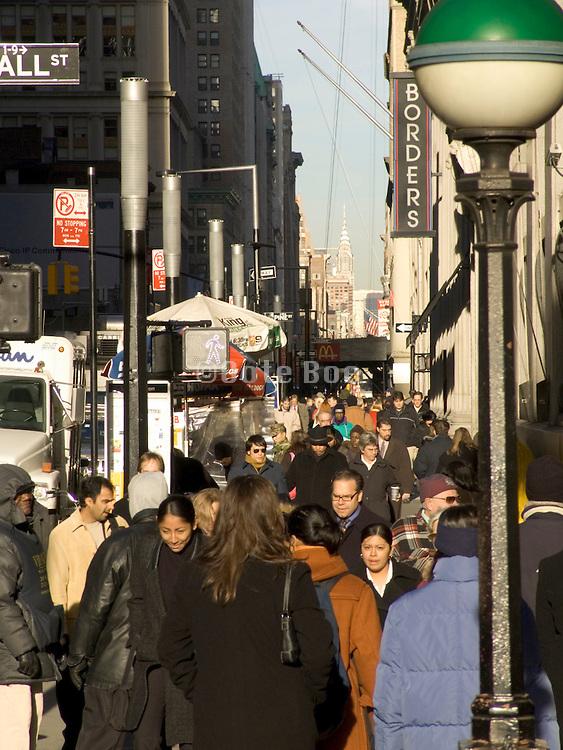 crowded street scene downtown Manhattan