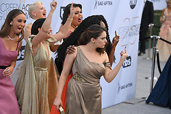 January 27, 2019 - Los Angeles, California, U.S - BRITT BARON, KIMMY GATEWOOD, REBEKKA JOHNSON, BRITNEY YOUNG cheer on RACHEL BLOOM AND SYDELLE NOEL during silver carpet arrivals for the 25th Annual Screen Actors Guild Awards, held at The Shrine Expo Hall. (Credit Image: © Kevin Sullivan via ZUMA Wire)