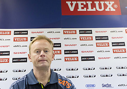Magnus Johansson, head coach of Savehof during press conference after the handball match between RK Celje Pivovarna Lasko and IK Savehof (SWE) in 3rd Round of Group B of EHF Champions League 2012/13 on October 13, 2012 in Arena Zlatorog, Celje, Slovenia. (Photo By Vid Ponikvar / Sportida)