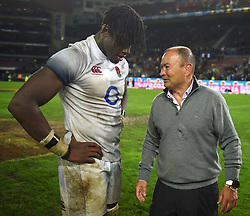 Cape Town-180623-   England coach Eddie Jones having a chat with Maro Itoje after their game against the Springboks at Newlands Stadium photographer:Phando Jikelo/African News Agency/ANA