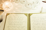 New York, NY - 27 May 2014. The menu at The Simone is handwritten by General Manager Tina Vaughan, wife of chef Chip Smith.
