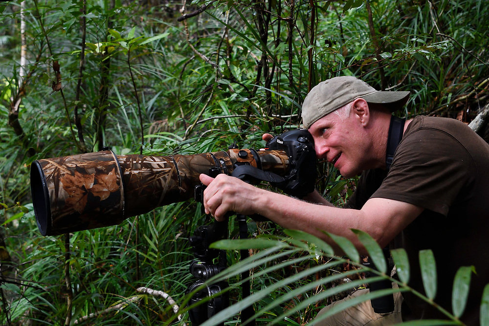 """Photographer Staffan Widstrand in the lowland rainforest, Aiduma Island, near Triton Bay, Mainland New Guinea, Western Papua, Indonesian controlled New Guinea, on the Science et Images """"Expedition Papua, in the footsteps of Wallace"""", by Iris Foundation"""