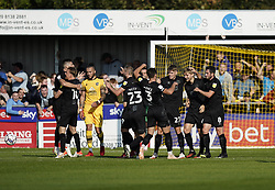 Port Vale's Nathan Smith (second right) celebrates after scoring his sides first goal of the game during the Sky Bet League Two match at Borough Sports Ground, Sutton. Picture date: Saturday October 9, 2021.