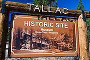 Entrance sign at Tallac Historic Site, Lake Tahoe, California USA