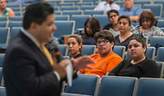Parents, students and staff listen as Superintendent Richard Carranza comments during a stop of his Listen & Learn Tour of the district at Chavez High School, September 15, 2016.
