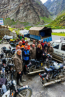 A group of Italian motorcyclists at Hotel Ibex in Jispa, en route to Ladakh, Leh-Manali Highway, Himachal Pradesh, India.