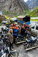 A group of Italian motorcyclists at Hotel Ibex in Jispa, en route to Ladakh, Leh-Manali Highway, Himachal Pradesh, India.