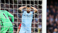 Sergio Aguero of Manchester City reacts to hitting the post  during the English Premier League match at The Etihad Stadium, Manchester. Picture date: April 27th, 2016. Photo credit should read: Lynne Cameron/Sportimage