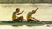 1999 World Rowing Championships St Catherines Canada. AUS M2- James TOMKINS and Bow Drew GINN, raise their arms after winning the final of the men's pair. [Mandatory Credit Peter Spurrier Intersport Images] 1999 FISA. World Rowing Championships, St Catherines, CANADA