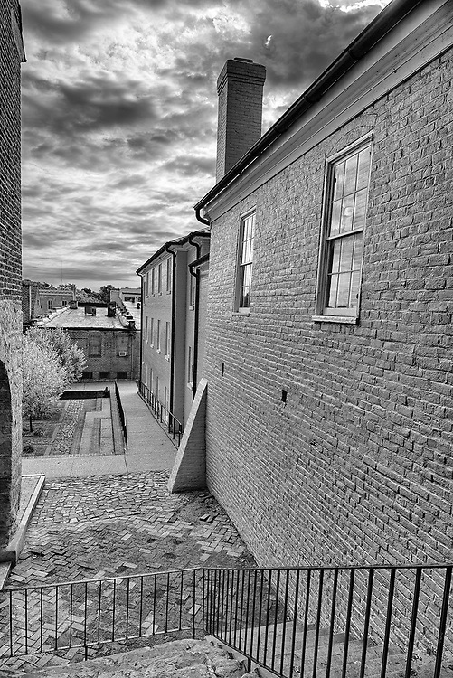 Looking into historic Market Square from a nearby alley in Fredericksburg, VA