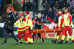 February 14, 2019 - Brugge, BELGIUM - Salzburg's Diadie Samassekou leaves the pitch after being injured during a soccer game between Belgian team Club Brugge KV and Austrian club FC Red Bull Salzburg, the first leg of the 1/16 finals (round of 32) in the Europa League competition, Thursday 14 February 2019 in Brugge. BELGA PHOTO KURT DESPLENTER (Credit Image: © Kurt Desplenter/Belga via ZUMA Press)