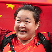 TOKYO, JAPAN August 3:    Silver medal winner <br />  Zheng Wang of China celebrates after the Women's Hammer Throw Final at the Olympic Stadium during the Tokyo 2020 Summer Olympic Games on August 3rd, 2021 in Tokyo, Japan. (Photo by Tim Clayton/Corbis via Getty Images)