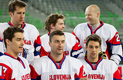 Ziga Pavlin, Mitja Robar, Sabahudin Kovacevic,  Rok Pajic, Andrej Hebar and Ziga Pance during practice session of Slovenian National Ice Hockey team first time in Arena Stozice before 2012 IIHF World Championship DIV I Group A in Slovenia, on April 13, 2012, in Arena Stozice, Ljubljana, Slovenia. (Photo by Vid Ponikvar / Sportida.com)