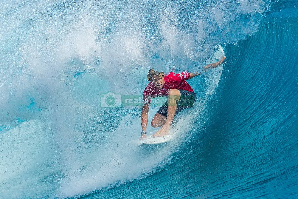 Aug 12, 2017 - Teahupo'o, French Polynesia, Tahiti - Reigning World Champion John John Florence of Hawaii, current No.2 on the Jeep Leaderboard advanced to Round Four of the Billabong Pro Tahiti after defeating Nat Young of the USA in Heat 7 of Round Three. (Credit Image: © Kelly Cestari/World Surf League via ZUMA Wire)