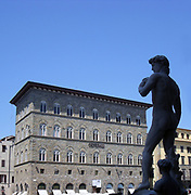 Statue copy of Michelangelo's David. Situated at the entrance of the Palazzo Vecchio in the Piazza della Signoria, Florence, Italy. The original was made between 1501-1504 and unveiled on the 8th of September 1504, and subsequently moved to the Accademia Gallery in 1873. This replica was placed here in 1910. It represents the biblical hero David.