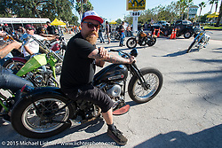 Bill Dodge on one of his custom Harley-Davidson creations at the Chopper Time Old School Bike Show at Willy's Tropical Tattoo during the Biketoberfest Rally. Ormond Beach, FL, USA. October 15, 2015.  Photography ©2015 Michael Lichter.